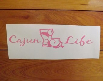 Cajun Life Vinyl Decal For Cars, Trucks, SUV, Boats in Pink/Cajun Decal/ Louisiana Decal/Louisiana Sticker