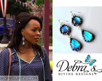 Hart of Dixie Earrings, As Seen On TV, As Seen on The CW Network's Hart of DixieBlue Morpho Butterfly Wing Earrings