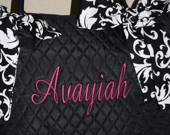 Black Quilted Large Tote Bag Custom Embroidery