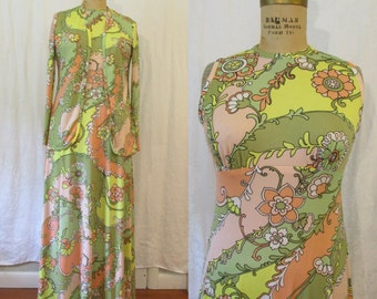 Pastel Maxi Dress w/ Matching Jacket / 1970s / small - medium