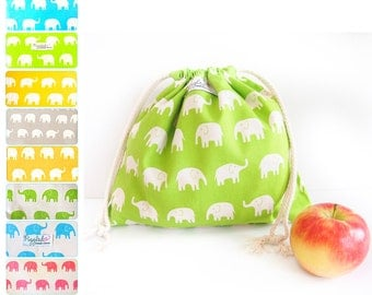Medium Drawstring Bag - Elephants (Choose Your Color)