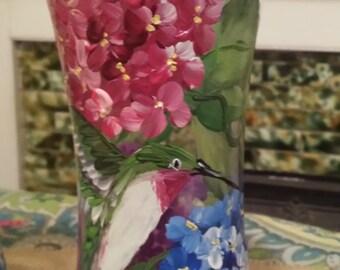 Hydrangea Hummingbird vase, hand painted hydrangea vase, Hummingbird vase