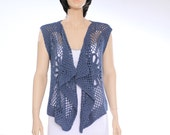 Blue vest Lacy hippie vest Lace vest Beach wear Woman vest sweater Lacy hippie vest