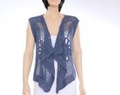 Blue vest Lacy hippie vest Lace vest Beach wear Woman vest sweater Lacy hippie vest