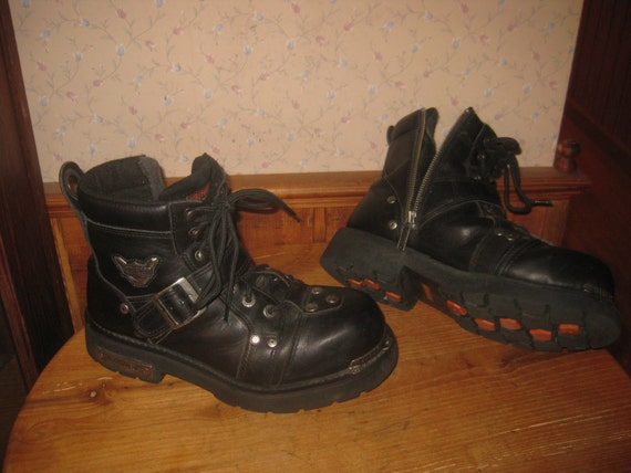 harley davidson motorcycle boots steel toe biker with side