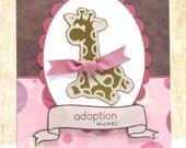 Baby Adoption Card- New Baby- Adoption Wishes- Giraffe Card- Clearance- Adoption Congrats