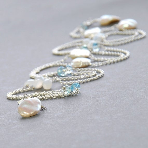 Blue Topaz And Pearl Necklace: White Moonstone Blue Topaz Keishi Pearl Silver Necklace By