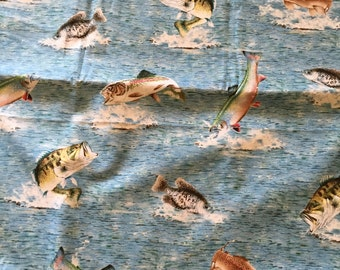 1 yard fishing rapala cotton woven fabric