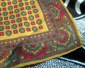 Vintage Scarf ~ Paisley Mustard, Red & Green Print ~ 80s Retro Style Square