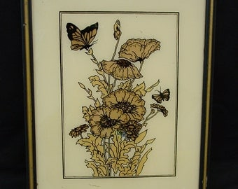 Nice Vintage Reverse Painted Picture, Monarch Butterfly, Flowers 9 3/4 x 12 3/4""