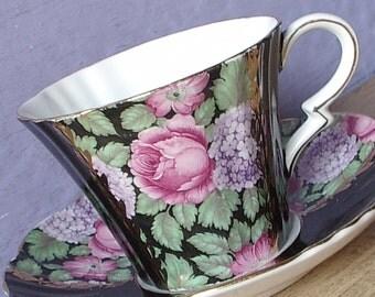 Vintage 1920's Art Deco teacup and saucer, Royal Standard black tea cup, blue hydrangea & pink roses tea cup, English bone china teacups