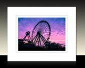 Amusement Park Ferris Wheel Matted Print, Kid's room decor, purple, Wildwood Morey's Pier, Ready for framing or framed