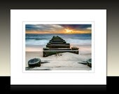 Delaware Beach Sunrise Matted Print, Seascape Ocean theme, Coastal wall decor, Ready for framing or Framed