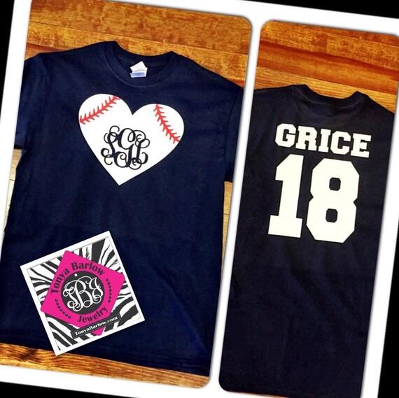 Personalized baseball tee shirt monogrammed baseball heart for Custom baseball tee shirts