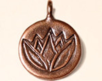 Hiltribe Copper Lotus Flower Charm - 14mm - Sold Per Piece