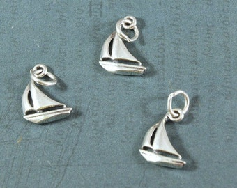 Sterling Silver Sailboat Nautical Charm - 15x12mm - Sold Per Piece - CR3SBT