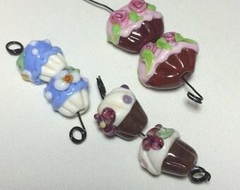 Destash #61 lampwork handmade beads - cupcake lampwork orphan beads