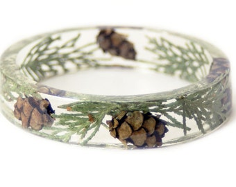 Pine Cone Bracelet -Real Dried Cedar Leaves- Acorn Resin Bangle-Green Bracelet- BrownJewelry -Green Resin Jewelry -Green Cedar Jewelry
