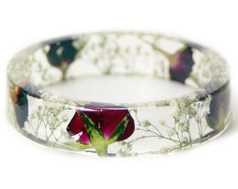 Bracelet -Red Rose Jewelry- Real Flower Bangle- Real Flower Resin Jewelry - Jewelry made with Flowers - Bridesmaid gift
