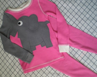 Elephant trunk sleeve 2pc thermal set, shirt and pants, pyjamas or longjohns, size girls 4T, bright PINK