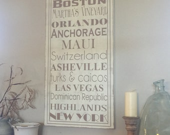 Extra Large hand painted wood sign - create your own - favorite places