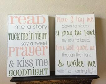 Read me a story, Now I lay me down to sleep, wood sign, nursery art, childs room decor