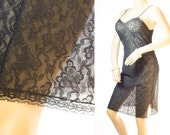As new 'Hautana' double layer soft really sheer sexy classic black Perlon and delicate lace overlay 60's vintage full slip petticoat - 3212