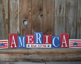 AMERICA wood blocks-  4th of July, Patriotic summer decor BLOCKS home decor with vinyl lettering, Military,