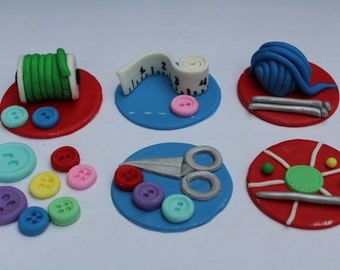 12 Fondant cupcake toppers--seamstress, sewing