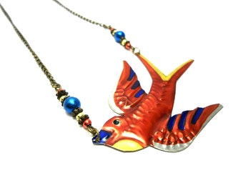 Red Swallow Bird Tin Necklace