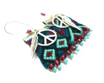 peace and love friendship earrings, ethnic earrings, boho earrings
