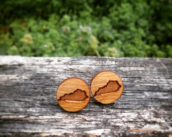 CUSTOM 10 PAIRS - Wood Kentucky State Small Stud Earrings