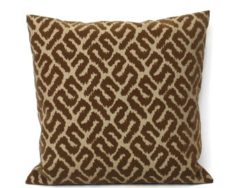 Brown Pillow Cover Flocked Geometric Upholstery Throw Pillow Cover Decorative Pillow Euro Sham 26x26 24x24 22x22 20x20 18x18 16x16