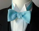 bowtie, mens, pure linen - aqua, freestyle, self tie, for men / adjustable bow tie : perfect for your summer wedding / groomsmen.