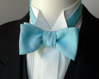 bowtie, mens, pure linen - aqua, freestyle, self tie, for men / adjustable bow tie : perfect for your summer wedding / groomsmen.