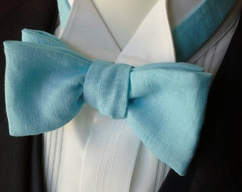 Bow Tie for a BIG NECK size - custom size made in pure linen -  freestyle, self tie / ships worldwide.