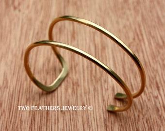 Gold Brass Cuff Bracelet - Asymmetrical Cuff - Double Cuff - Open Cuff Bracelet - Modern Cuff - Modern Gold Jewelry - Two Feathers Jewelry