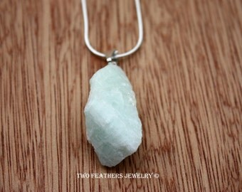 Rough Aquamarine Necklace - Sterling Silver Necklace - Raw Organic Gemstone Necklace - March Birthstone Necklace - Pale Blue - Two Feathers