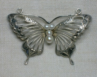 Vintage Butterfly Brooch, Hand Engraved 925 Sterling Silver & Cultured Pearls