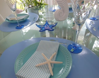 Striped Cloth Napkins - Picnic, Cottage Chic, Beach - Set of Four - Light Blue Striped Napkins by Pillowscape Designs - Light Blue and White