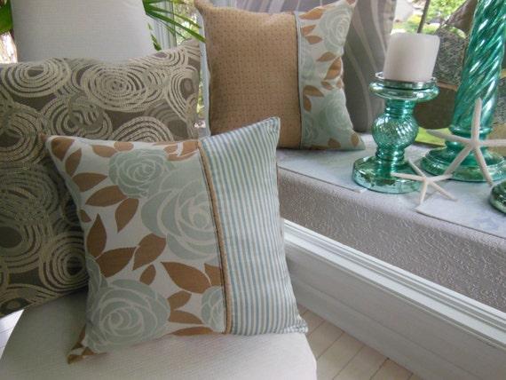 Green Pillow - Blue Pillow - Flower Pillow - Silver Pillow Beige Pillow - Striped Pillow -Reversible Hathaway Horiizon Spa Decorative Pillow