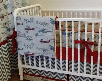 Airplane Baby Bedding-Boy Crib Bedding MADE TO ORDER- Vintage Airplane Crib Bedding Set