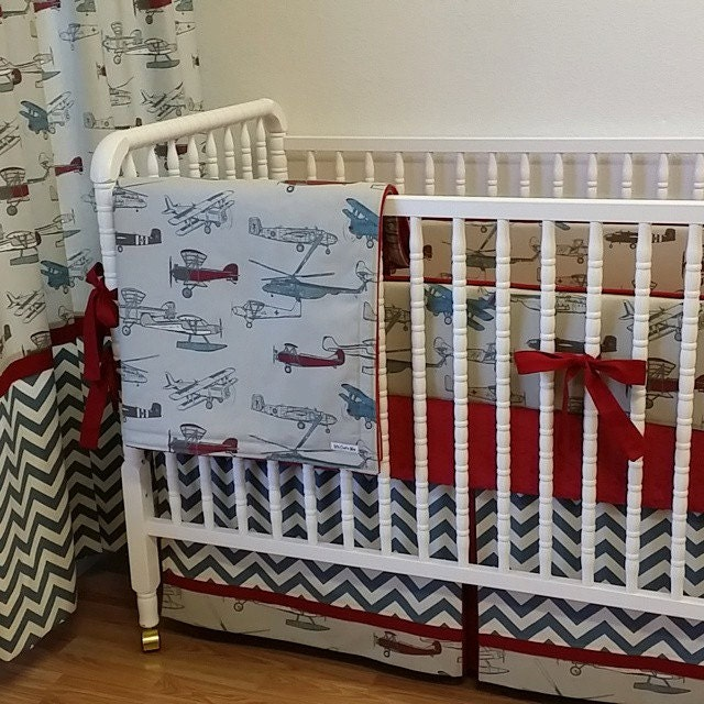 Airplane Baby Bedding Boy Crib Bedding Made To Order Vintage