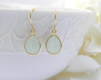 Mint Earrings - Light Mint Dangle Earrings - Gold Earrings - Bridesmaids Jewelry - Bridal Jewelry - Wedding Jewelry - Mint Wedding Earrings