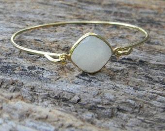 Moonstone Bangle Bracelet stacking gemstone bangle gift for her
