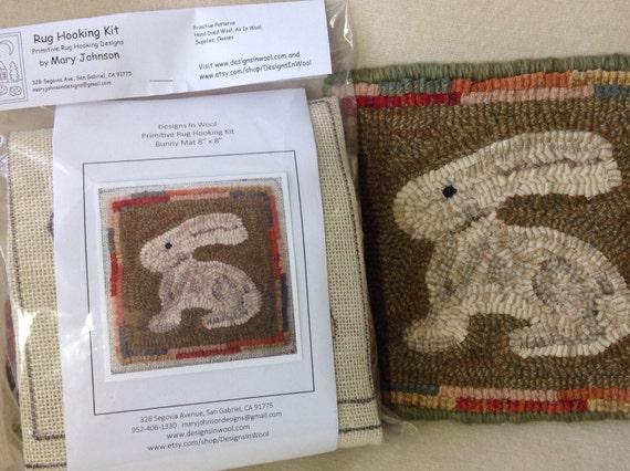 """Rug Hooking Kit, """"Bunny Mat"""", 8"""" x 8"""", J910"""
