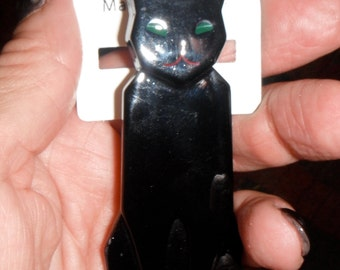 black kitty cat large pin laminated celluloid marion godart paris couture