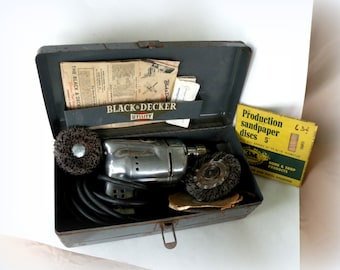 ELECTRIC DRILL SET Black n Decker 2017 Vintage Trends Early 50s Most Popular Item Mens Garage Dad Gifts Tool Box Hardware Most Popular Shops