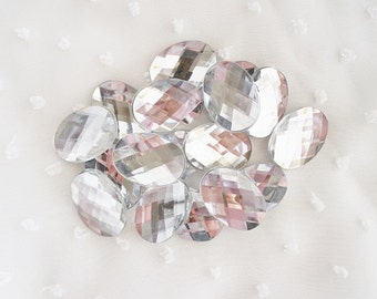 10pcs - Large Crystal Clear Oval Acrylic Flatback Rhinestones Decoden (25x18mm) AS10001