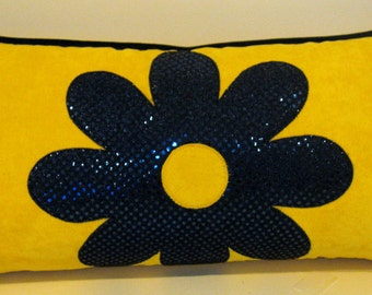 Yellow velvet navy blue metallic flower lumbar 12 X 24